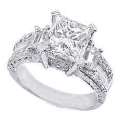Trendy Diamond Rings : Princess Cut Diamond Vintage Engagement Ring