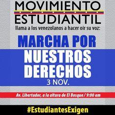 Los estudiantes no vamos a abandonar el ejercicio de nuestros derechos.  Tenemos que hacer que nuestra voz se escuche. Por eso como movimiento autónomo e independiente convocamos a todos los venezolanos a manifestar pacíficamente en las calles de todo el país. En Caracas convocamos a la Av. Libertador a la altura de El Bosque a las 9:00 am.  Tenemos 3 exigencias que mantenemos hasta que no sean atendidas y no abandonaremos las calles hasta tanto:  1) Liberación inmediata de los estudiantes…