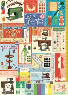 Cavallini Vintage Sewing & Notions (Gift/ Wrapping Paper)