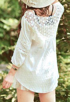 [grzxy6600247]Sweet Elegant Floral Crochet Lace Spliced White T-shirt