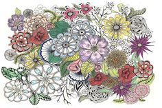 Zentangle Multi-floral in color by collectincat