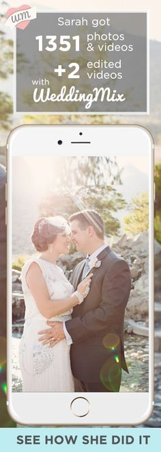 Here's the easiest way to capture the most photos and videos from your guests.   Use the @WeddingMix app and our HD cameras to collect every friend's and family's photo & video. Our pro-editors then turn your favorite moments into a fantastically fun, affordable wedding video!