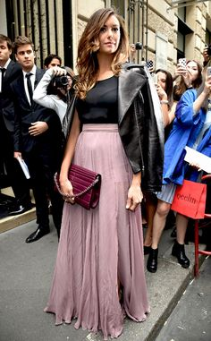 Nina Dobrev from Paris Haute Couture Fashion Week 2014: Star Sightings Nina mixes pure elegance with ethereal vibes wearing head to toe Elie Saab at the designer's show.