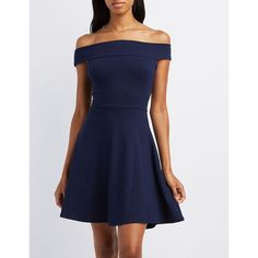 Charlotte Russe Off-The-Shoulder Cross-Back Skater Dress ($20) ❤ liked on Polyvore featuring dresses, navy, navy blue dress, off-the-shoulder dresses, cut out skater dress, blue off the shoulder dress and navy dress