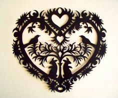 Pennsylvania Dutch scherenschnitte | Scherenschnitte Heart and Doves – Extreme Cards and Papercrafting