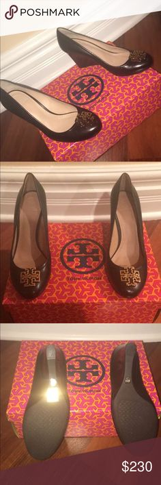 NWT. Never worn! Tory Burch 61/2 Black Wedges! These shoes are GORGEOUS, and perfect for any occasion!! These shoes have never been worn and have been in the box since I got them! I purchased them originally for my mom but they were a little too big for her so I am passing them on to the next fashionista!! Tory Burch Shoes Wedges