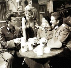(L-R) Clint Eastwood, newcomer Ingrid Pitt and British film stars Mary Ure and Richard Burton, during a scene set during World War 2 for the film 'Where Eagles Dare', at Metro-Goldwyn-Mayer's studios - UK - 18 February 1968