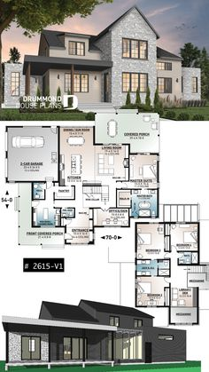 Modern farmhouse plan, 4 bedrooms, 3.5 baths, master suite on main floor, large terrace, pantry, fireplace