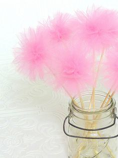 tulle party wands really cute to decorate table.. and even cuter if you add 1 year picture on it so ppl can take them as souvenirs