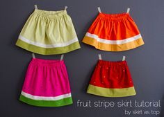 Girls Fruit Stripe Skirts tutorial - no pattern needed - lime, orange, watermelon, and strawberry - so cute