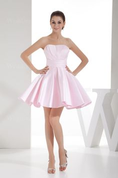 Strapless A-line satin dress with pleats