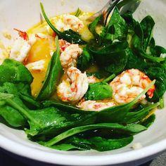Late night snacking of Argentinian garlic lemon EVOO marinated shrimp with…