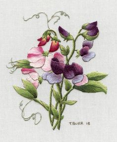 Embroidery Kit:  Redoute's Sweet Peas http://trishburr.com/ See Trish Burr's Blog for thread list correction.  Beautiful design