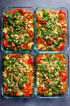 Make 4 or 8 healthy Pad Thai Sweet Potato Meal Prep containers in 20 minutes. Can be vegetarian or with chicken, topped with eggs, peanuts, pepper, cilantro and simple sauce. #ifoodrealmonthly