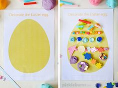 Free printable Easter play dough mats - decorate an Easter egg!