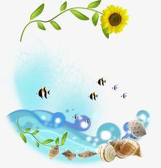 El girasol y la caracola, Concha, Pescado, Peces De Colores PNG y PSD