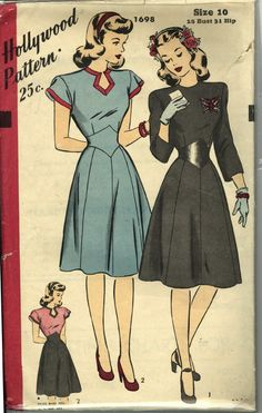 "I don't think Hollywood Patterns ever put out a pattern that wasn't absolutely gorgeous. Here a keyhole neckline and ""v"" belted waist make a gorgeous 1940s day dress."