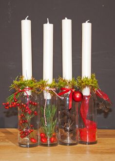 DIY idea: Advent wreath in glass - Home Accessories Best of 2019 Wreath Boxes, Diy Wreath, Wreaths, Christmas Candles, Christmas Decorations, Table Decorations, Holiday Decor, Advent Wreath Prayers, Creative Home
