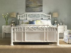 Tommy Bahama by Lexington Home Brands Ivory Key Pritchards Bay Panel Bed - White, Size: Queen - Tommy Bahama, Panel Headboard, Headboard And Footboard, Headboards, Rattan, Wicker, Lexington Home, Pastel House, White Bedding