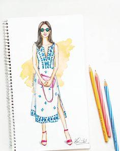593 Likes, 30 Comments - Dipti Patel Dress Design Drawing, Dress Design Sketches, Fashion Design Sketchbook, Fashion Design Drawings, Fashion Sketches, Fashion Illustration Tutorial, Dress Illustration, Fashion Illustration Dresses, Fashion Illustrations