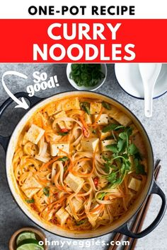 These Thai-inspired one-pot noodles are simmered up in a spicy coconut red curry sauce and can be on the table in under 30 minutes. #thairecipes #noodles #pasta #curry #onepotrecipe #30minutemeals