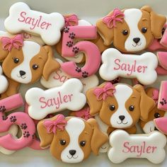 Girly puppy cookies! These just capture my heart. #decoratedcookies #sugarcookies #puppies #dog #puppyparty #woofwoof #orangecounty…