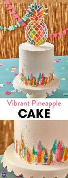 Rays of bright summer color illuminate this Vibrant Pineapple Cake. Topped with a colorful gum paste pineapple, this cake is ready for summer fun. Serve this cake for a beach-side birthday party or luau-themed retirement party. With enough room to add candles or customize your cake with a name, this cute Vibrant Pineapple Cake is sure to be a favorite among friends and family!