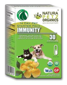 Organic Immunity Supplements by Natura Petz Organics is a new premium, organic supplement collection of eight formulas comes in easy and convenient 14-day starter packs, each containing proprietary Master Rain Forest and Andean herbal blends from the world's richest biospheres. Each is formulated to optimize pet health and achieve a balanced approach to nutrition, vitality and wellness.  www.naturapetz.com