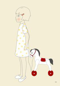 Illustration La p'tite Madeleine La petite fille et le cheval à roulettes