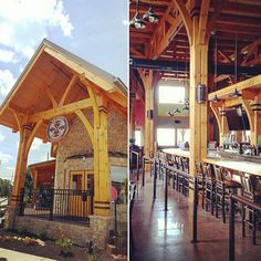 Congratulations to @bigwoodsbrewing on the opening of their new timber frame restaurant. Construction was completed by Hearthstone of Nashville, Indiana.