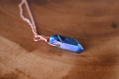 Titanium Blue Quartz and Copper Necklace - Crystal necklaces and other handmade boho jewelry by ColbieGirl Jewelry!  See more on Etsy! https://www.etsy.com/shop/ColbieGirlJewelry