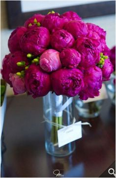 Rich pink peonies. Can't get enough of these lush flowers. They work in any table scape from casual to ultra formal. More