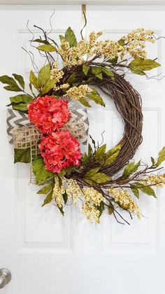 Spring Wreath-Summer Wreath-Grapevine Pink Hydrangea Wreath With Beige Berries and Chevron-Year Round Wreath-Handmade-Mothers Day Gift by WreathdesignsbyJulma on Etsy