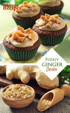 Spiced with ground #ginger and given a #toffee flavor by the brown #sugar these little #cupcakes are topped with chewy chunks of #fudge