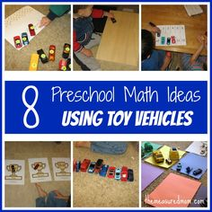 8 Preschool Math Ideas -- using toy vehicles! - The Measured Mom  Skills - Ordinal Numbers, Division, Sorting, Counting, Number Recognition, Subitizing, Patterns, Colors, Addition, Graphing Big Ideas - Sets, Number Sense, Counting, Number Operations, Pattern, Data Analysis