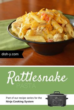 Rattlesnake Pasta used to require the use of 3 different pots/pans/baking dishes, but not when it's made in the Ninja Cooking System! You won't even have to drain the noodles to enjoy this creamy pasta dish with a kick.