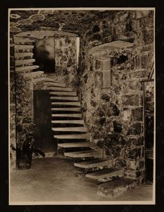The staircase in Juan O'Gorman's house in Mexico City (built 1953–56, demolished 1969). The Mexican muralist and architect was best known for designing Casa Azul (The Blue House) for Diego Rivera and Frida Kahlo and the Aztec mural on the exterior of the UNAM Library in Mexico City, but his most extraordinary work was his own personal house. It was partly inside a natural cave and was designed to harmonize with the lava formations of the landscape. I love the stairs.