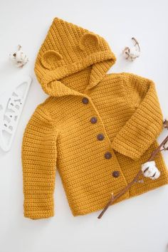 Knitted mustard cardigan - yellow jumper - baby coat - knit baby fotoshooting - outside kids costume - cool weather - MADE TO ORDER - Crochet Crochet Baby Sweater Pattern, Crochet Baby Sweaters, Baby Girl Sweaters, Crochet Baby Clothes, Baby Knitting Patterns, Baby Patterns, Crochet Vests, Crochet Cape, Crochet Shirt