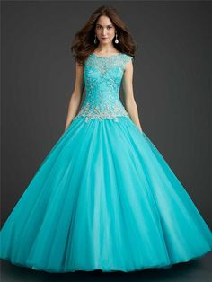 216e09c4c19 Wholesale Quinceanera Dress - Buy Amazing Aqua Tulle Ball Gown Quinceanera  Dresses Sheer Neck Crystal Stones