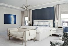 Bedroom & bath interior design by Eric Cohler Design in New York, Palm Beach, San Francisco, & London. Residential and Commercial Interior Design. Transitional Living Rooms, Transitional House, Transitional Lighting, Coastal Bedrooms, Modern Bedroom, Master Bedrooms, Manhattan, Nyc, Beautiful Bedrooms