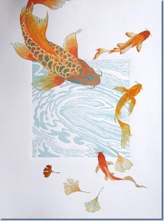 Koi Fine Art: printmaking and mixed-media. Koi Art, Fish Art, Linocut Prints, Art Prints, Koi Painting, Carpe Koi, Guache, Polychromos, Art Plastique