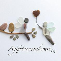 """Fairy love"" #agifttorememberart #pebbleart #artwork #originaldesign #love #fairy #birds #nature #etsy #etsyseller #etsyshop #makersgonnamake #tree #roomdecor #instaphoto #instaart #madebyme #handmade #giftideas #unique #beach #australia #seaglass #driftwood"
