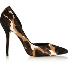 Oscar de la Renta Jenna printed calf hair pumps