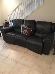 Black Leather Sofa-Recliners / $600 Leather Reclining Sofa, Leather Recliner, Black Leather Sofas, Recliners, Couch, Furniture, Home Decor, Power Recliners, Settee