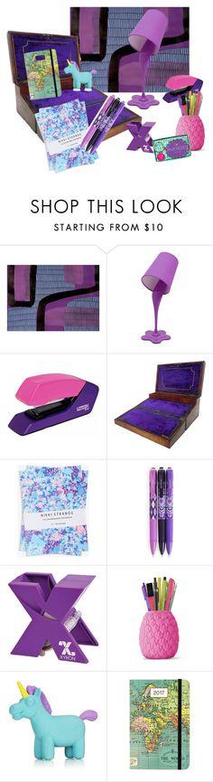 """Purple and Pink Desk"" by alexxa-b ❤ liked on Polyvore featuring interior, interiors, interior design, home, home decor, interior decorating, Nikki Strange, Vera Bradley, NPW and Cavallini"