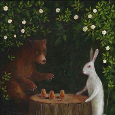 "Art Print of an Original Animal Painting: ""Jean-Eugène Robert-Houdin, Demonstrating the 'Acetabula et Calculi' Illusion, Paris, Rabbit Art, Art Hoe, Illustrations, Cute Illustration, Animal Paintings, Comic, Art Inspo, Fantasy Art, Fine Art Prints"