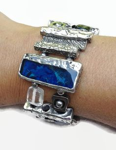 Modern art bracelet blue pewter painted by BijouChantaleGelinas