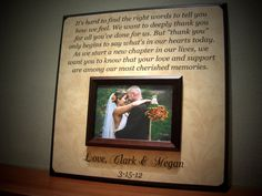 Parents Wedding Gift Personalized Picture Frame Custom Anniversary Love Father of Mother of Thank You, It's Hard To Find The Right Words