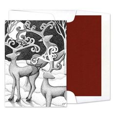 Designed by Ron Butt This unique holiday greeting card features an intricate stipple design on the front cover. Add your personalized text to the inside of the card to complete the look. Light Font, Holiday Greeting Cards, Red Design, Stippling, Paper Weights, White Envelopes, Reindeer, Prints, Printmaking