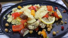 Halloumi eggplant sheet pan Roasted veggies that make for an epic side. Family Meal Planning, Family Meals, 15 Minute Meals, Vegetarian Entrees, Halloumi, Easy Food To Make, Veggie Dishes, Sheet Pan, Veggies